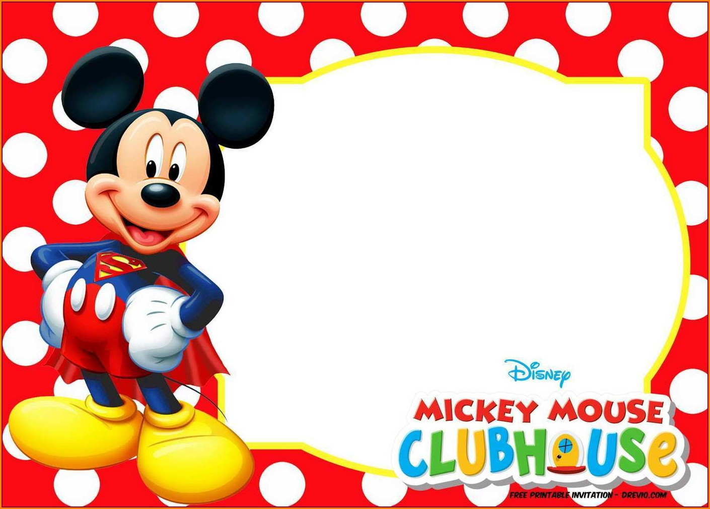 Blank Mickey Mouse Invitation Template Free Download