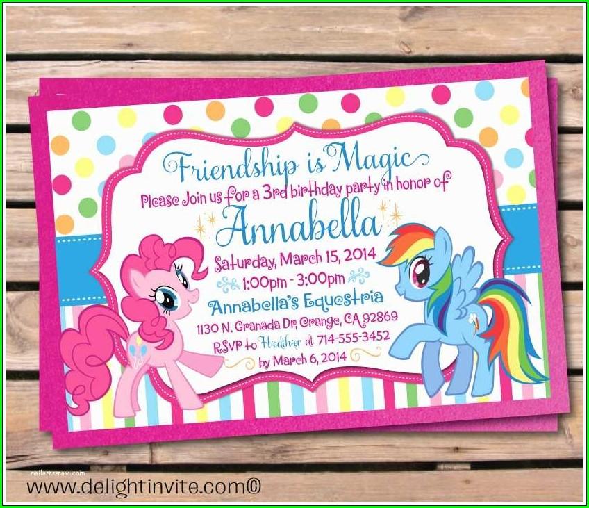 Blank My Little Pony Birthday Invitations