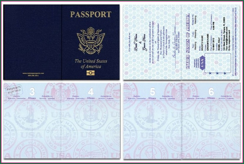 Blank Passport Wedding Invitation Template