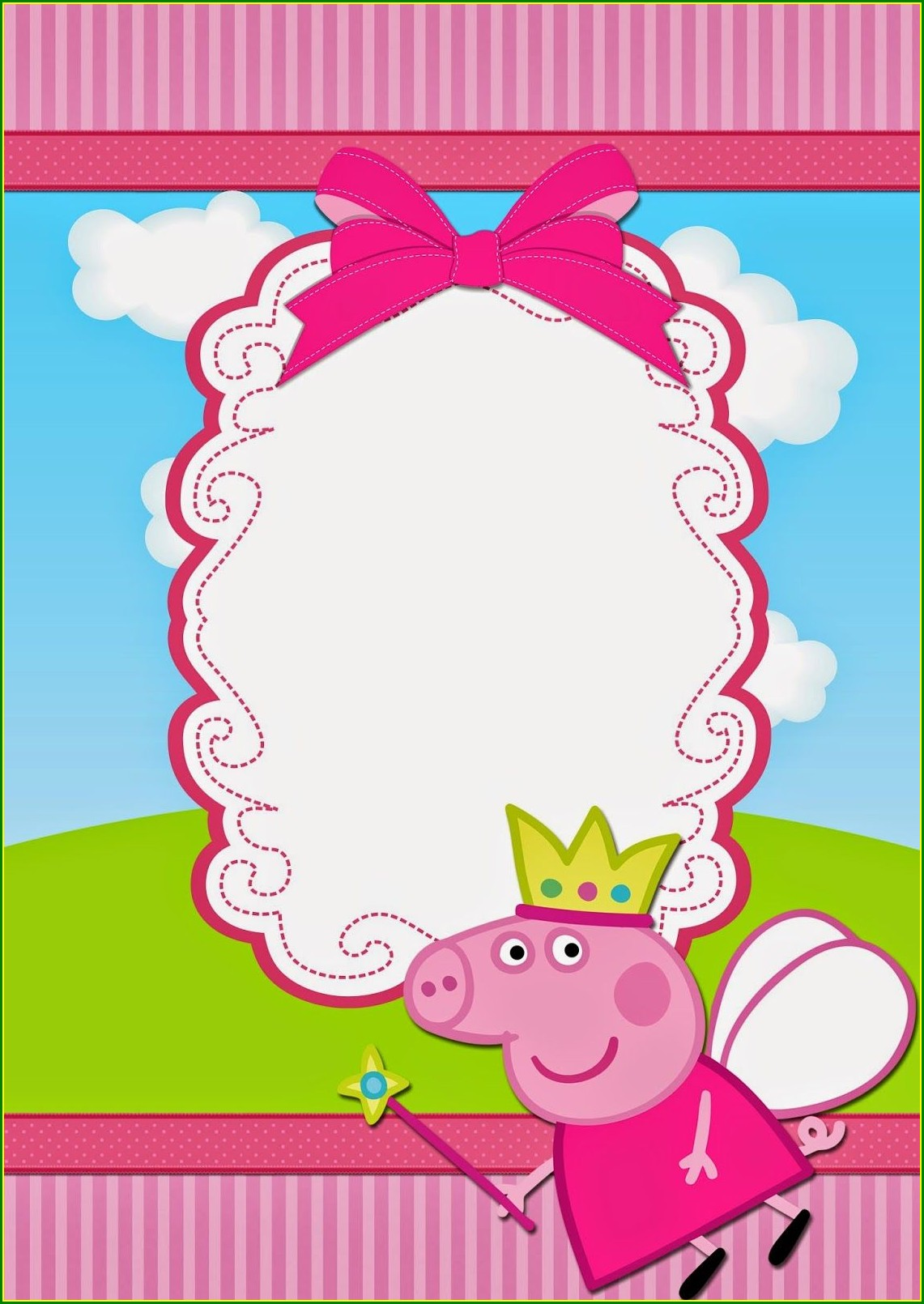 Blank Peppa Pig Invitation Card