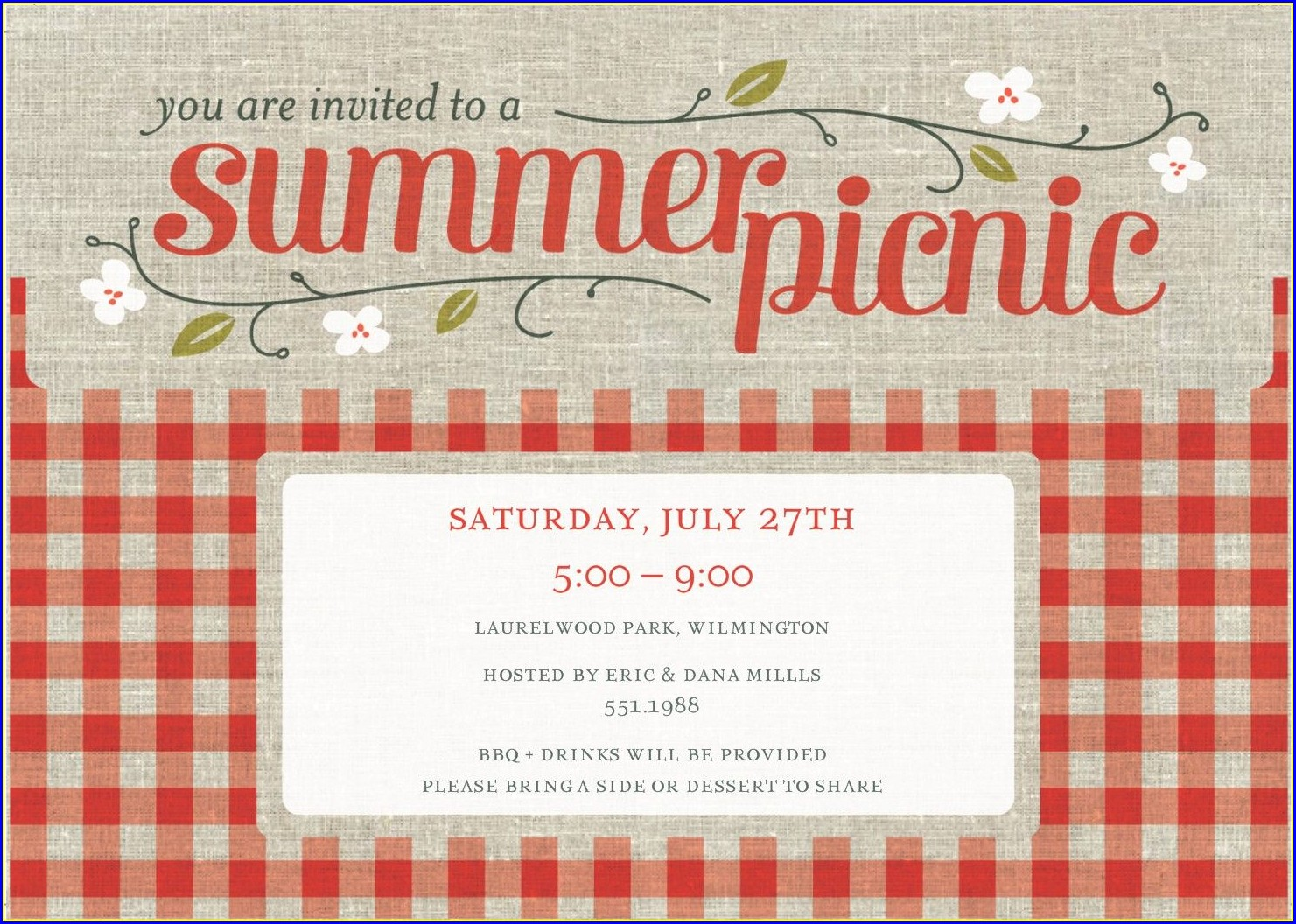 Blank Picnic Invitation Template Free