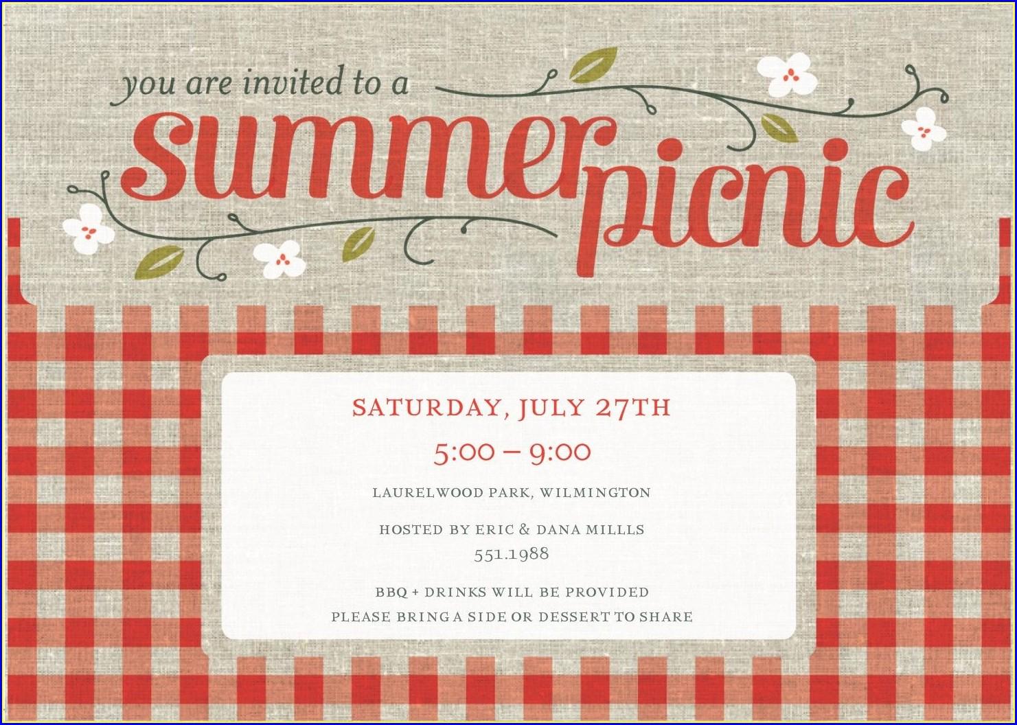 Blank Picnic Invitation Template Free
