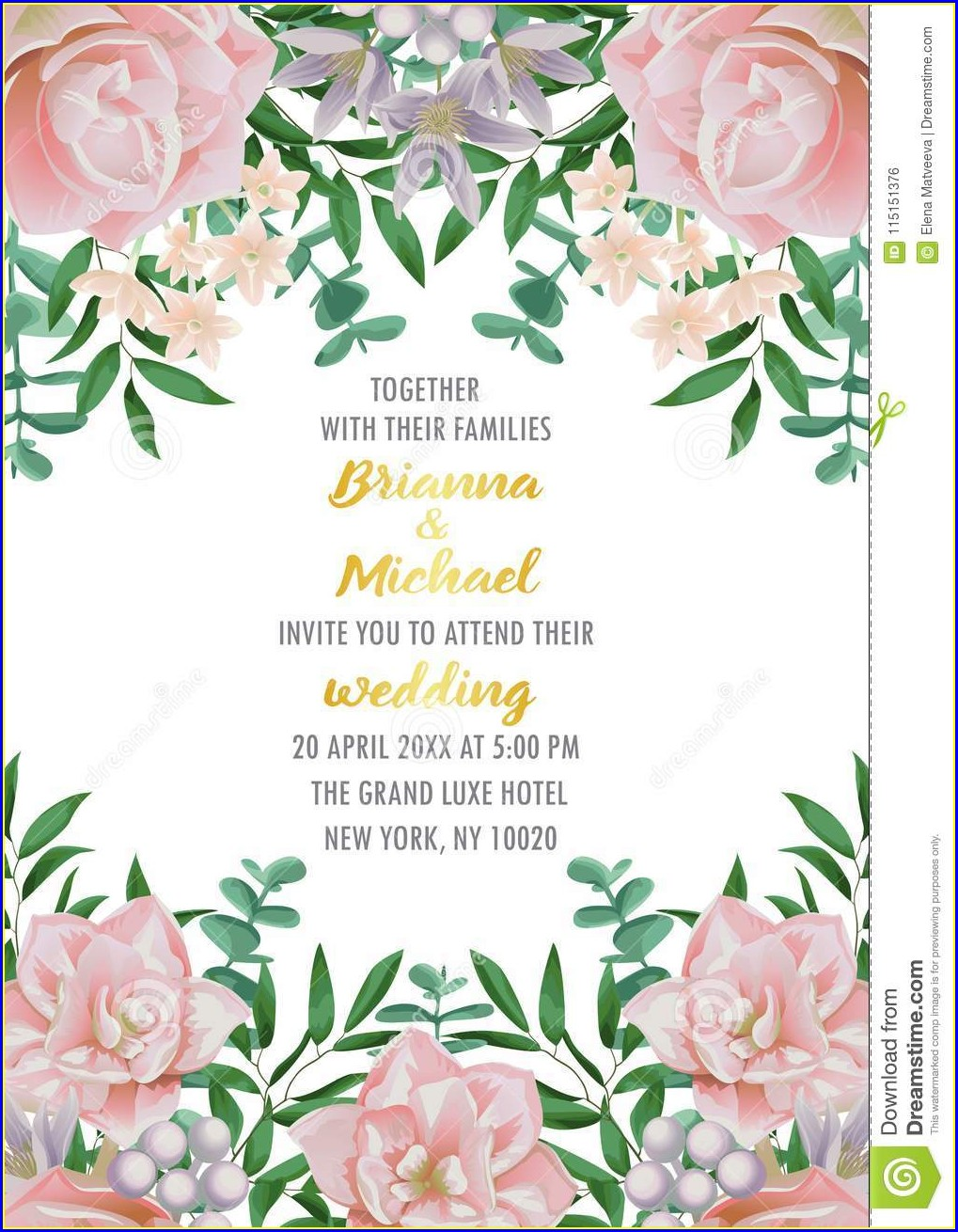 Blank Pink Floral Invitation Template