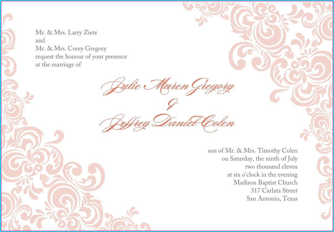 Blank Printable Wedding Invitation Templates