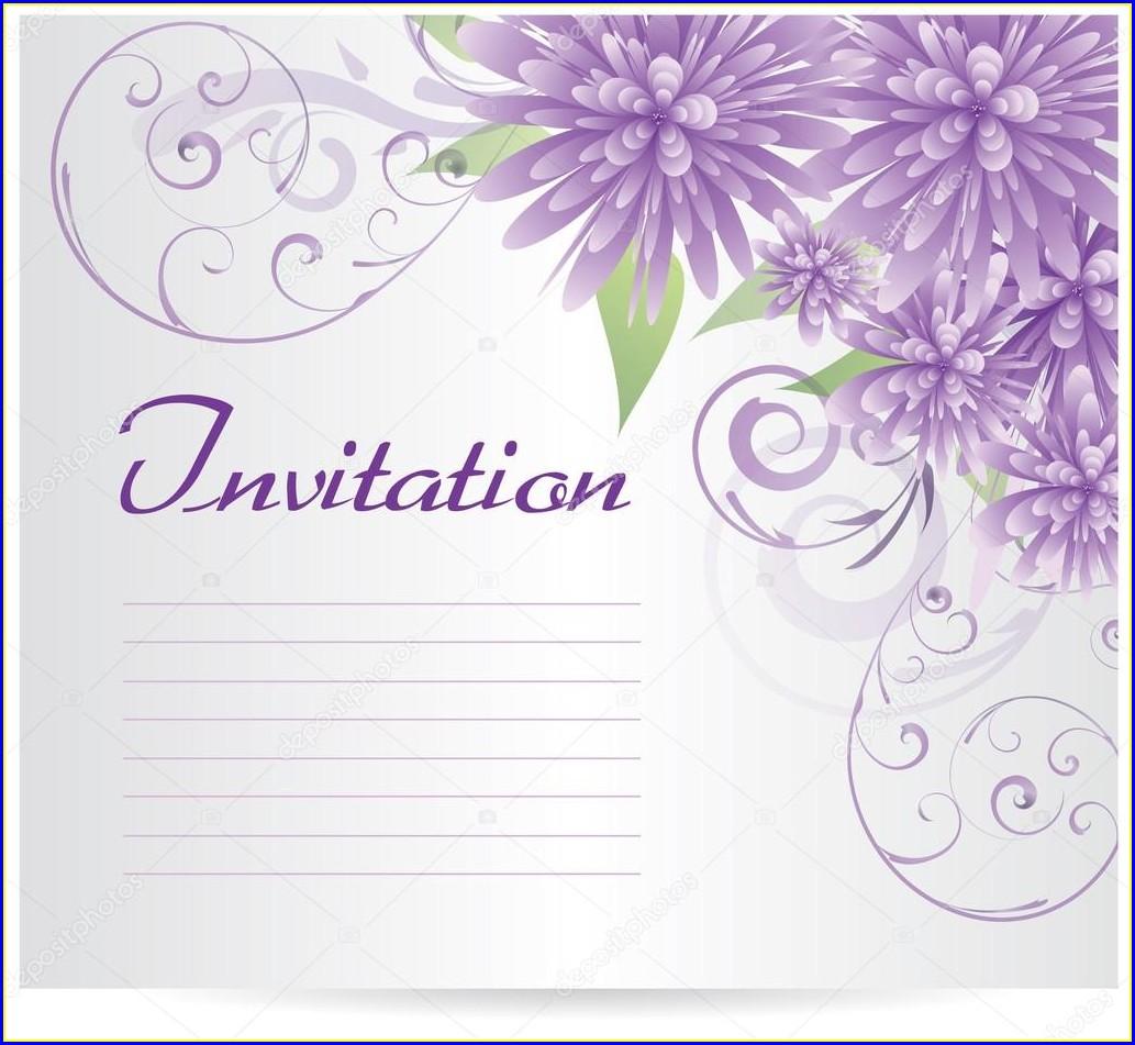 Blank Purple Flower Invitation Template