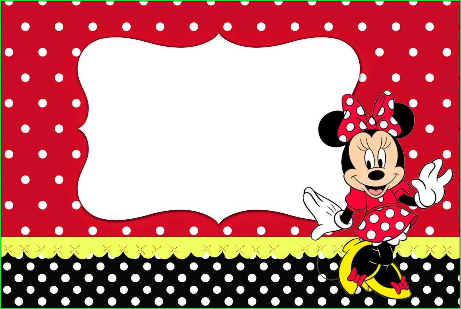 Blank Red Minnie Mouse Invitation Template