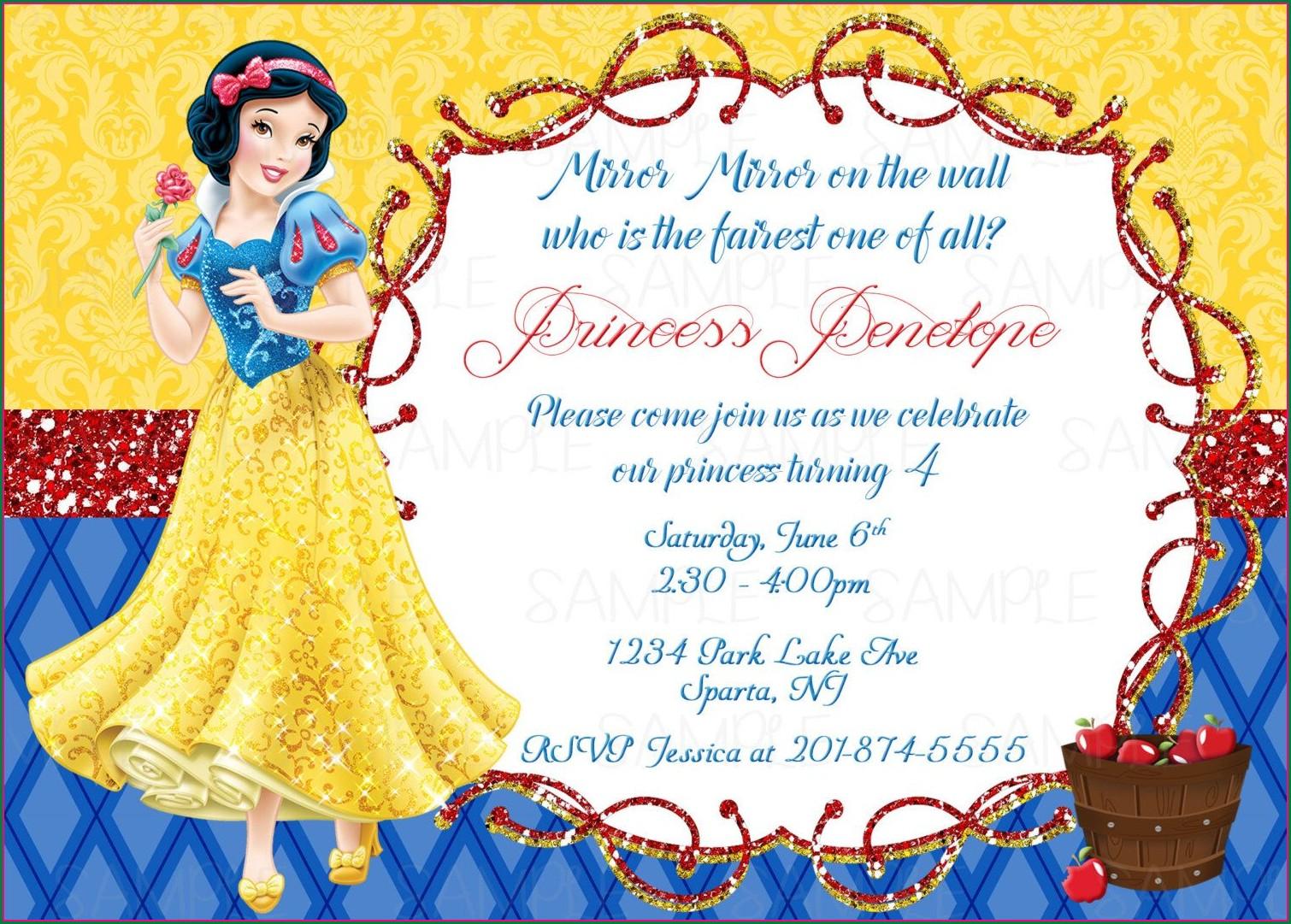 Blank Snow White Birthday Invitation