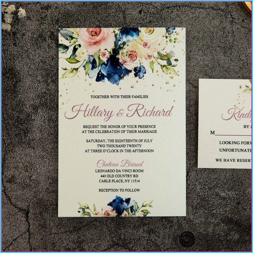 Blue And Pink Floral Wedding Invitations
