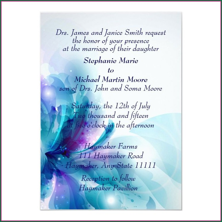 Blue And Purple Orchid Wedding Invitations