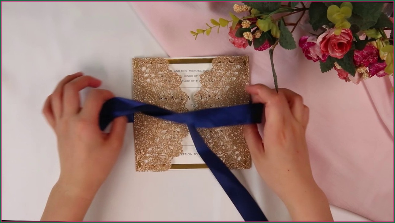 Blue And Rose Gold Wedding Invitations