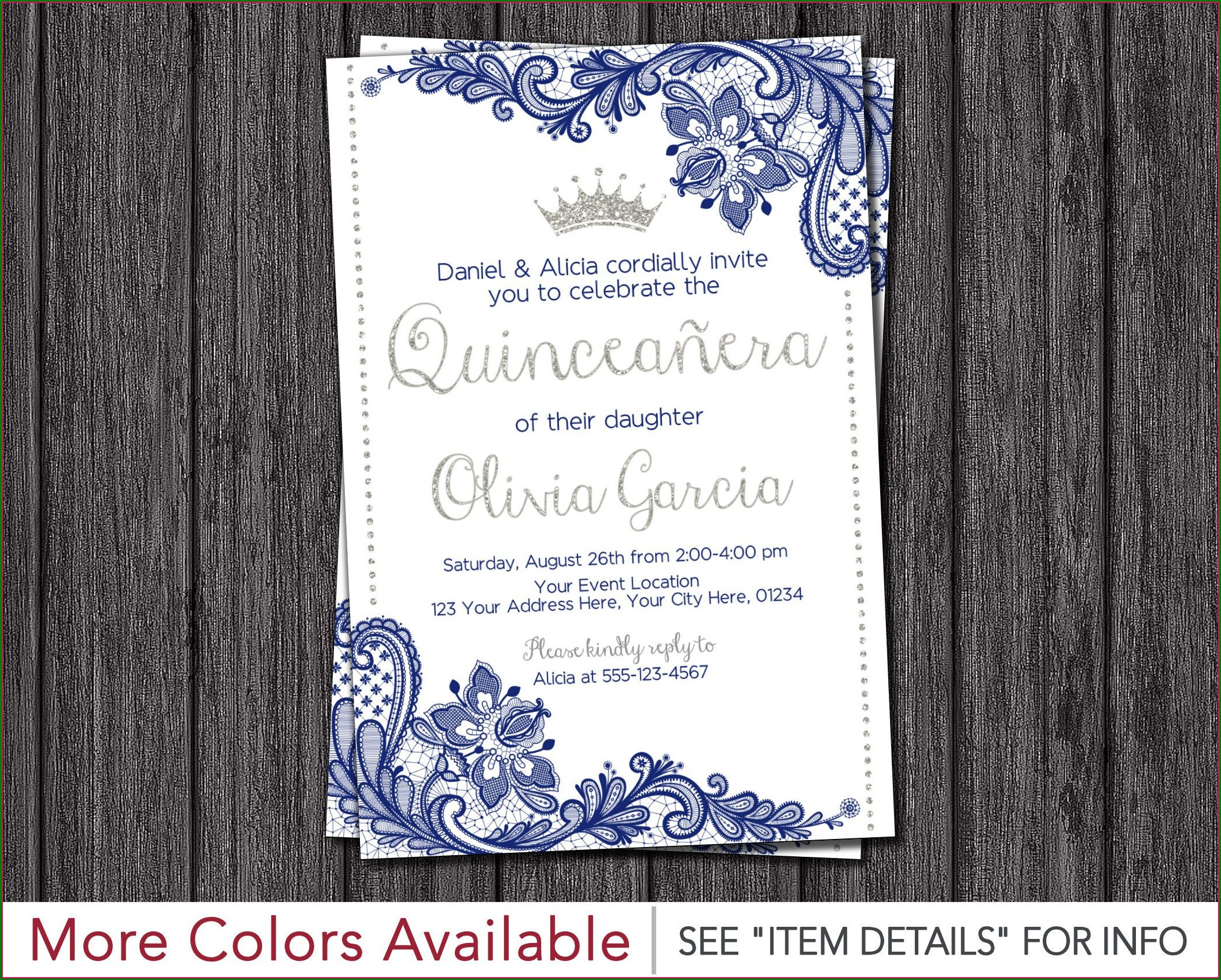 Blue And Silver Birthday Invitations