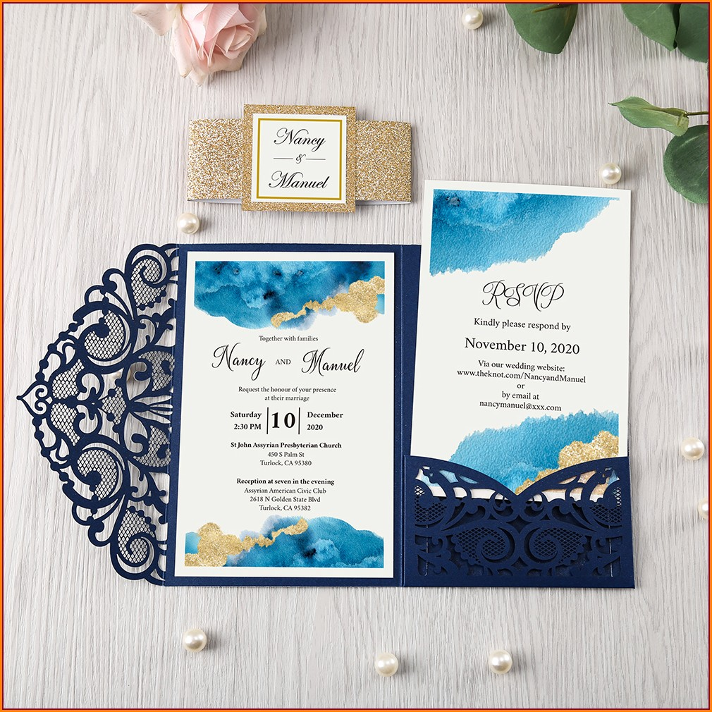 Blue Wedding Invitation Cards