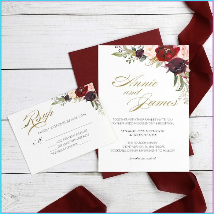 Blush And Burgundy Wedding Invitations
