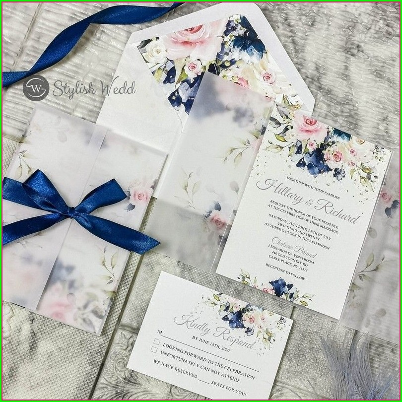 Blush And Navy Blue Wedding Invitations