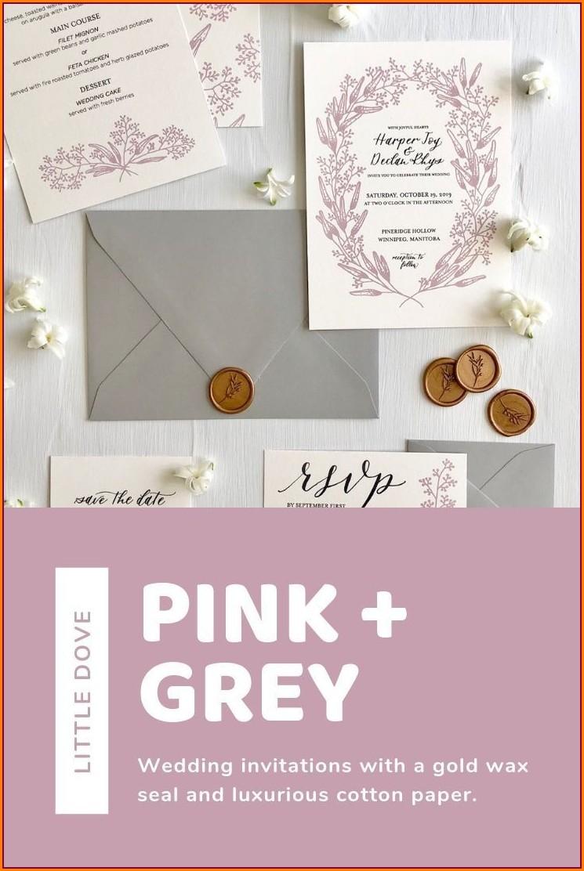 Blush Pink And Grey Wedding Invitations