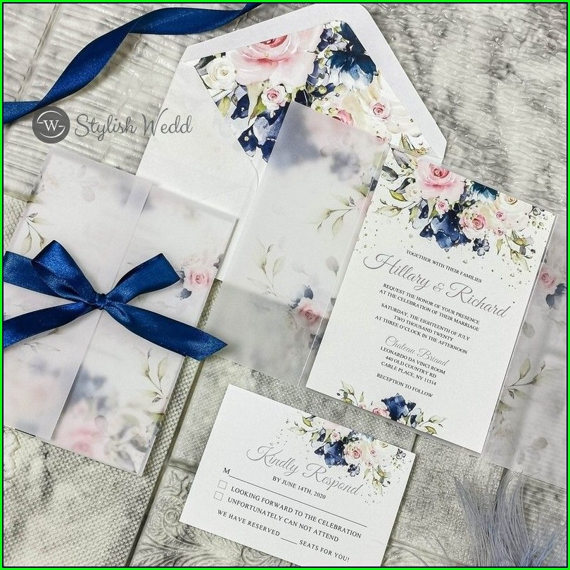 Blush Pink And Navy Blue Wedding Invitations