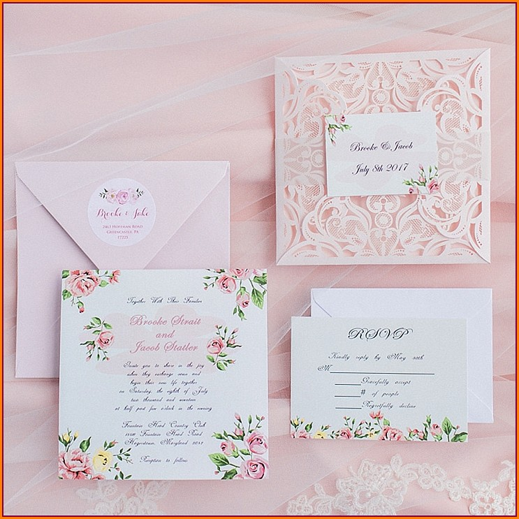 Blush Pink Floral Wedding Invitations