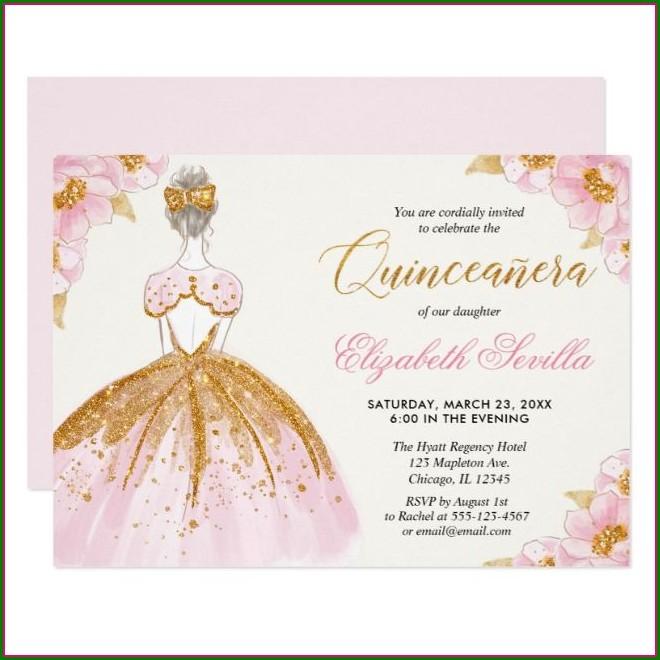 Blush Pink Quinceanera Invitations