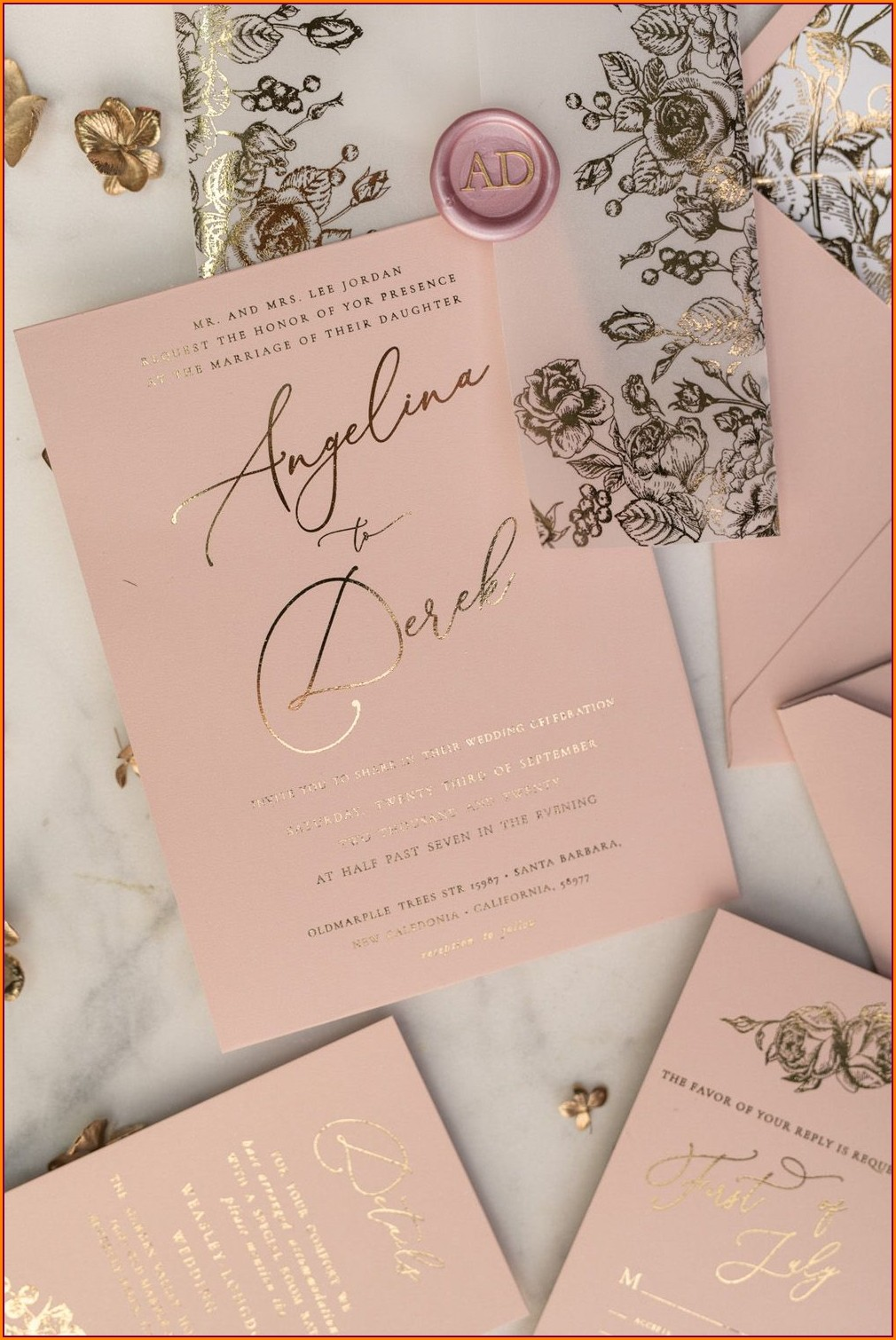 Blush Pink Wedding Invitations Uk