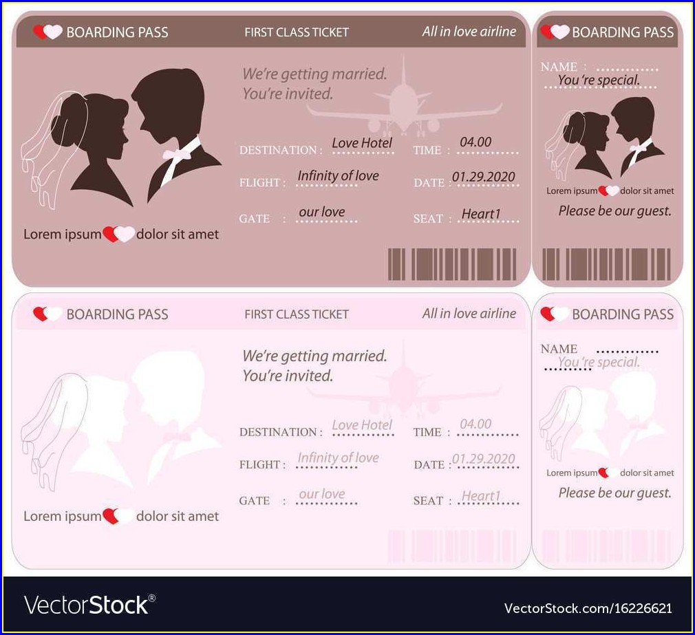 Boarding Pass Wedding Invitation Template Free