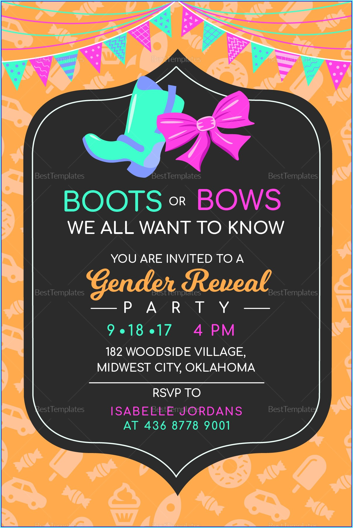 Boots Or Bows Invitation Template