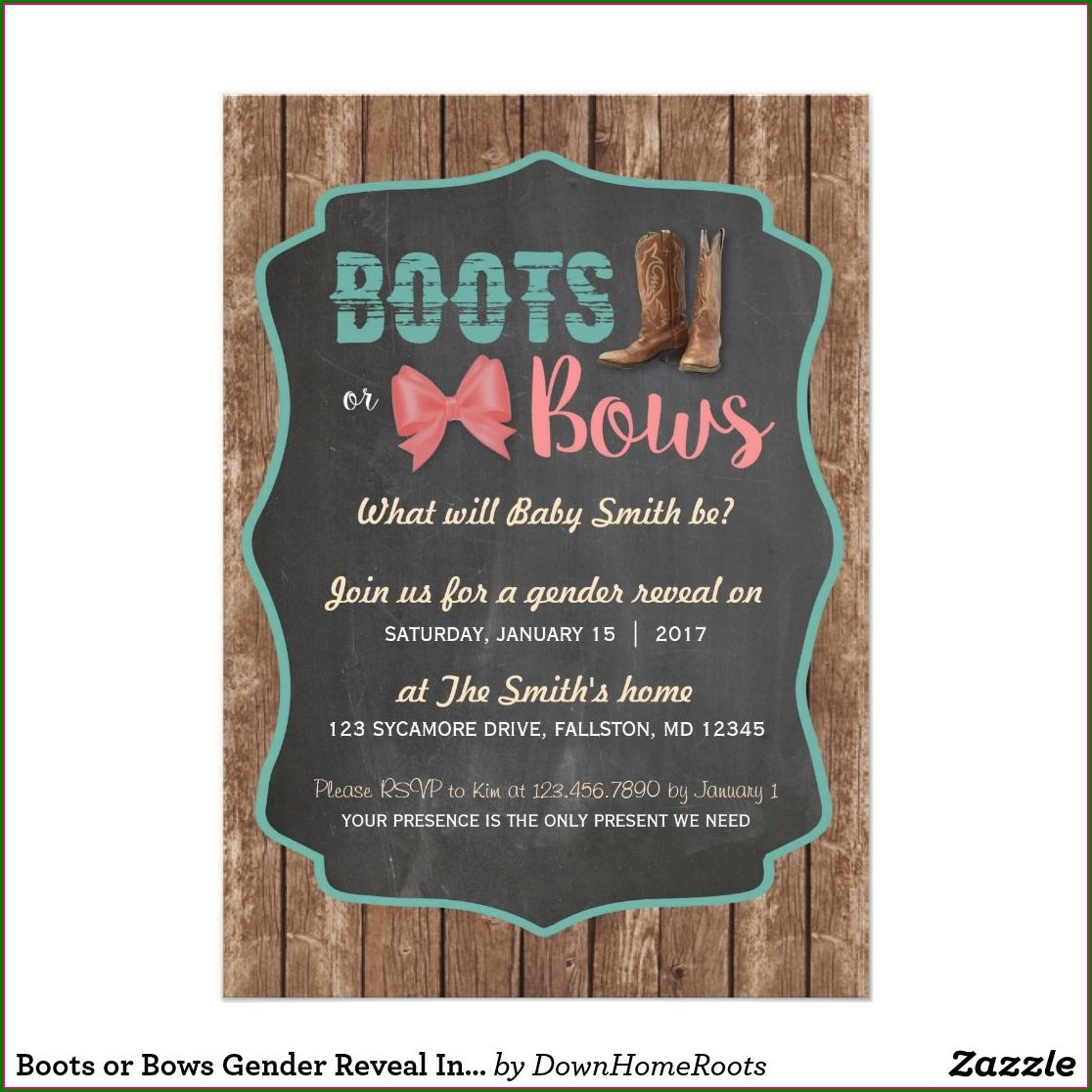 Boots Or Bows Invitations