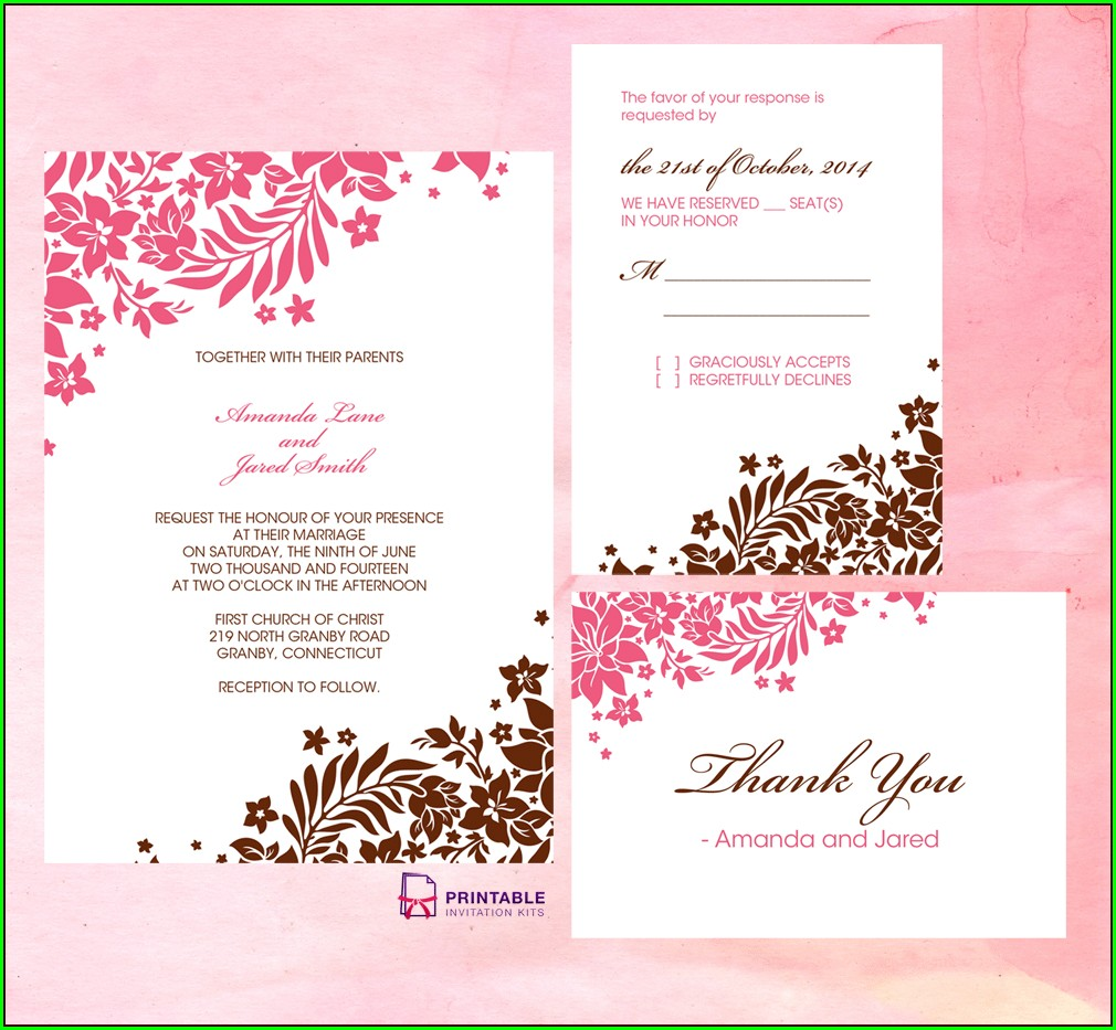 Border Editable Wedding Invitation Templates Free Download