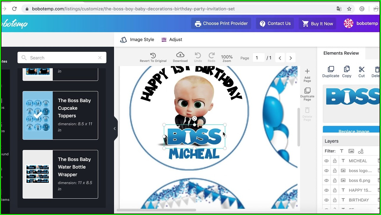 Boss Baby Birthday Invitation Template