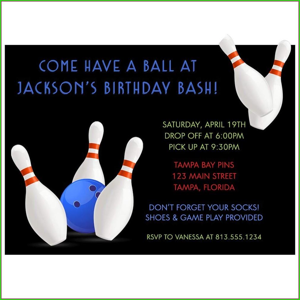 Bowling Alley Birthday Invitations