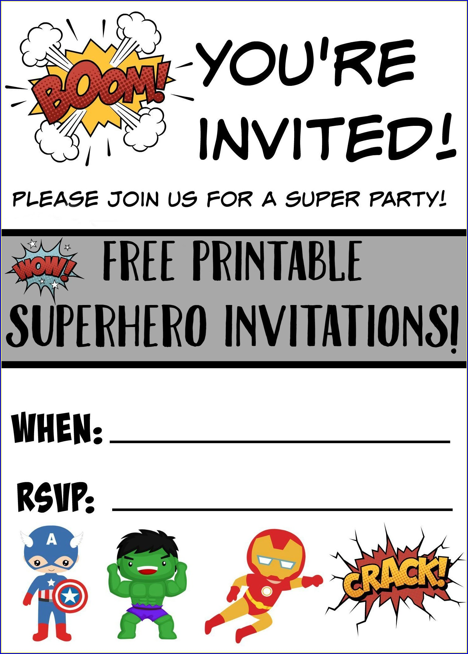 Boy Free Printable Birthday Party Invitations