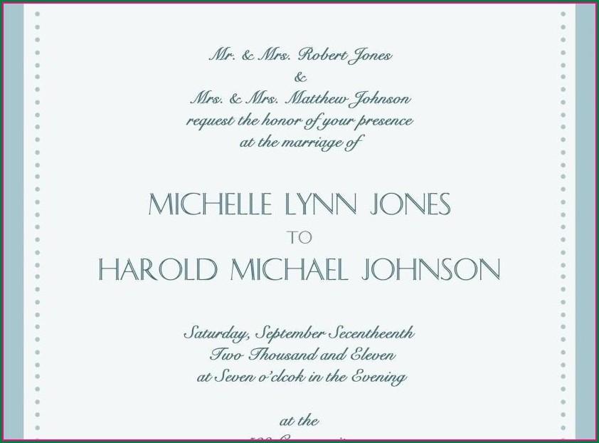 Bride And Groom Hosting Wedding Invitation Wording