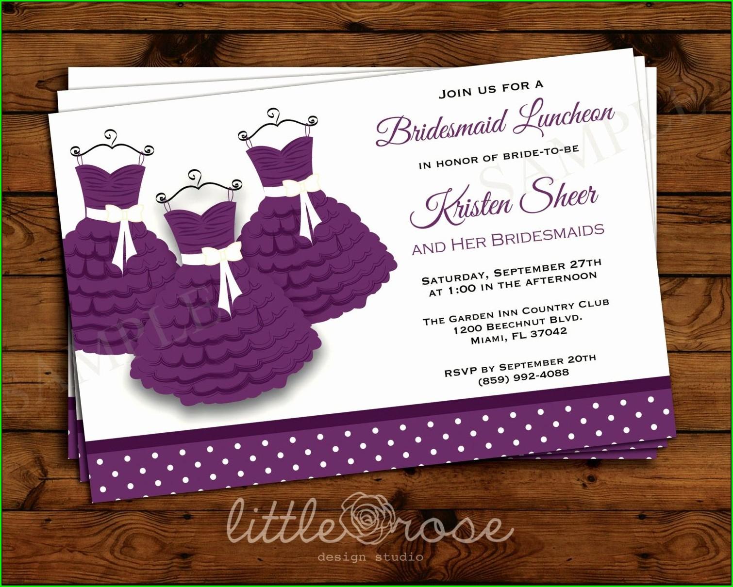 Bridesmaids Luncheon Invitation Wording