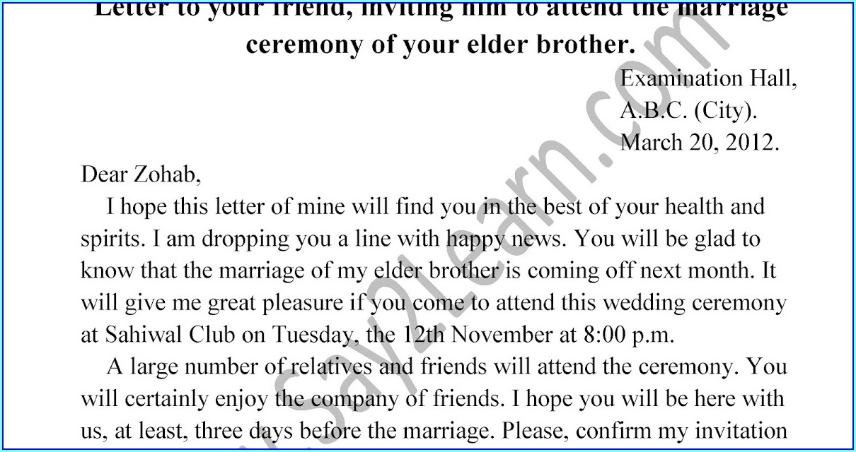 Brothers Marriage Invitation Letter To Friends