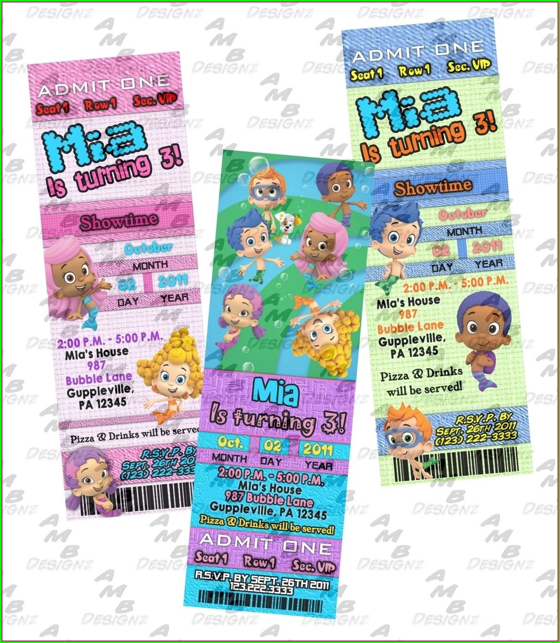Bubble Guppies Custom Invitations