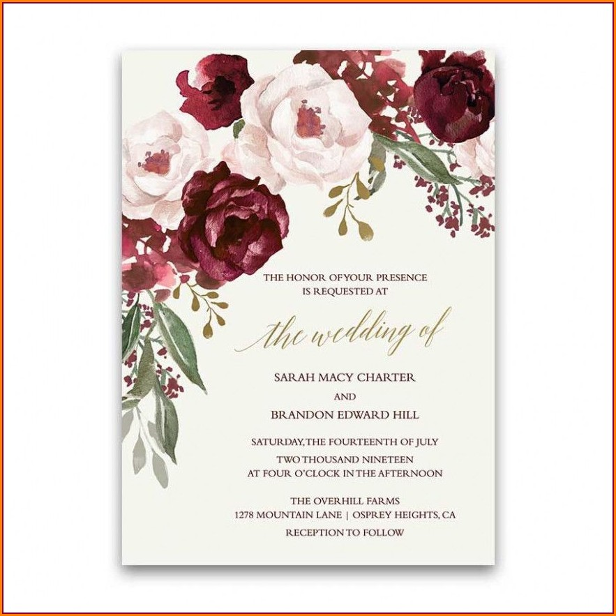 Burgundy And Blush Wedding Invitations