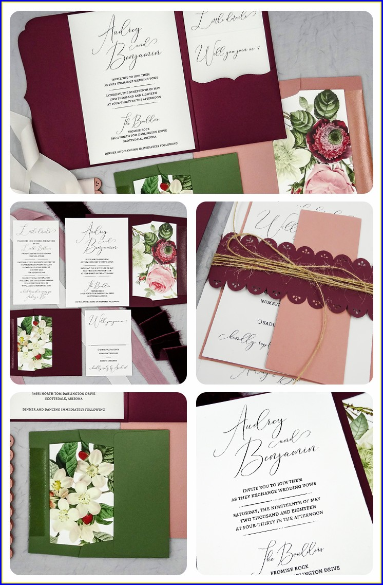 Burgundy And Dusty Rose Wedding Invitations