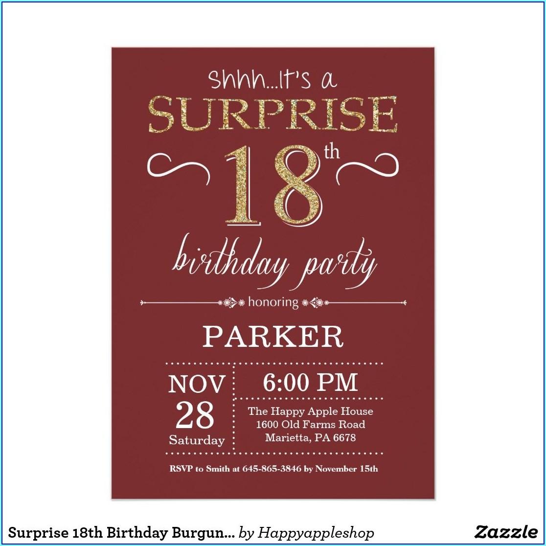 Burgundy And Gold Birthday Invitations
