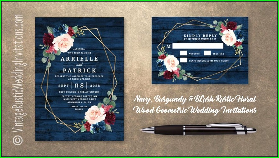 Burgundy And Navy Blue Wedding Invitations