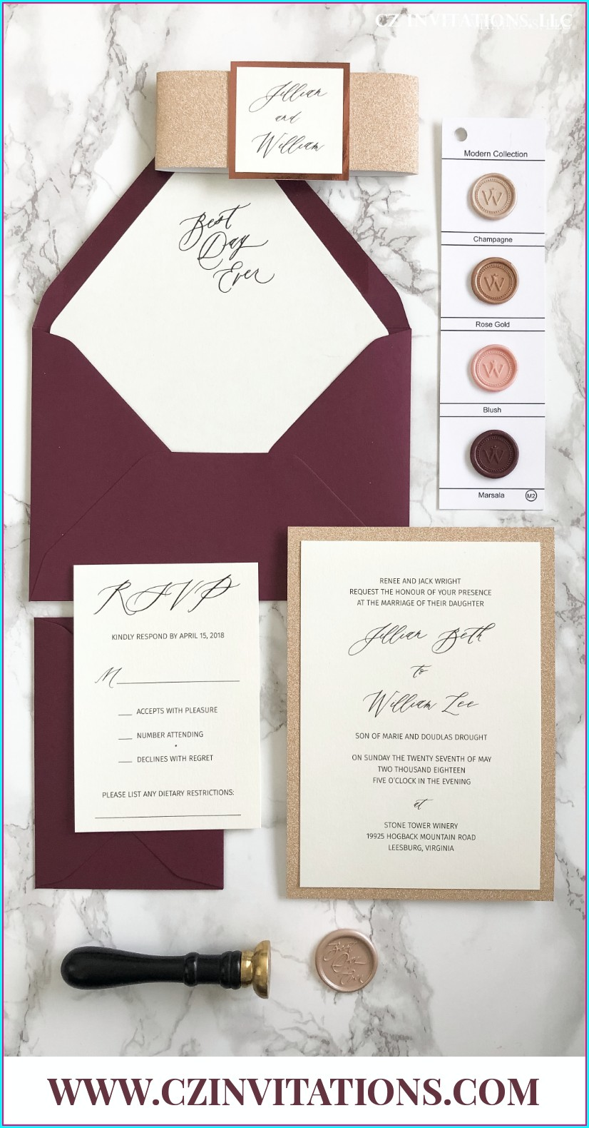 Burgundy And Rose Gold Invitations