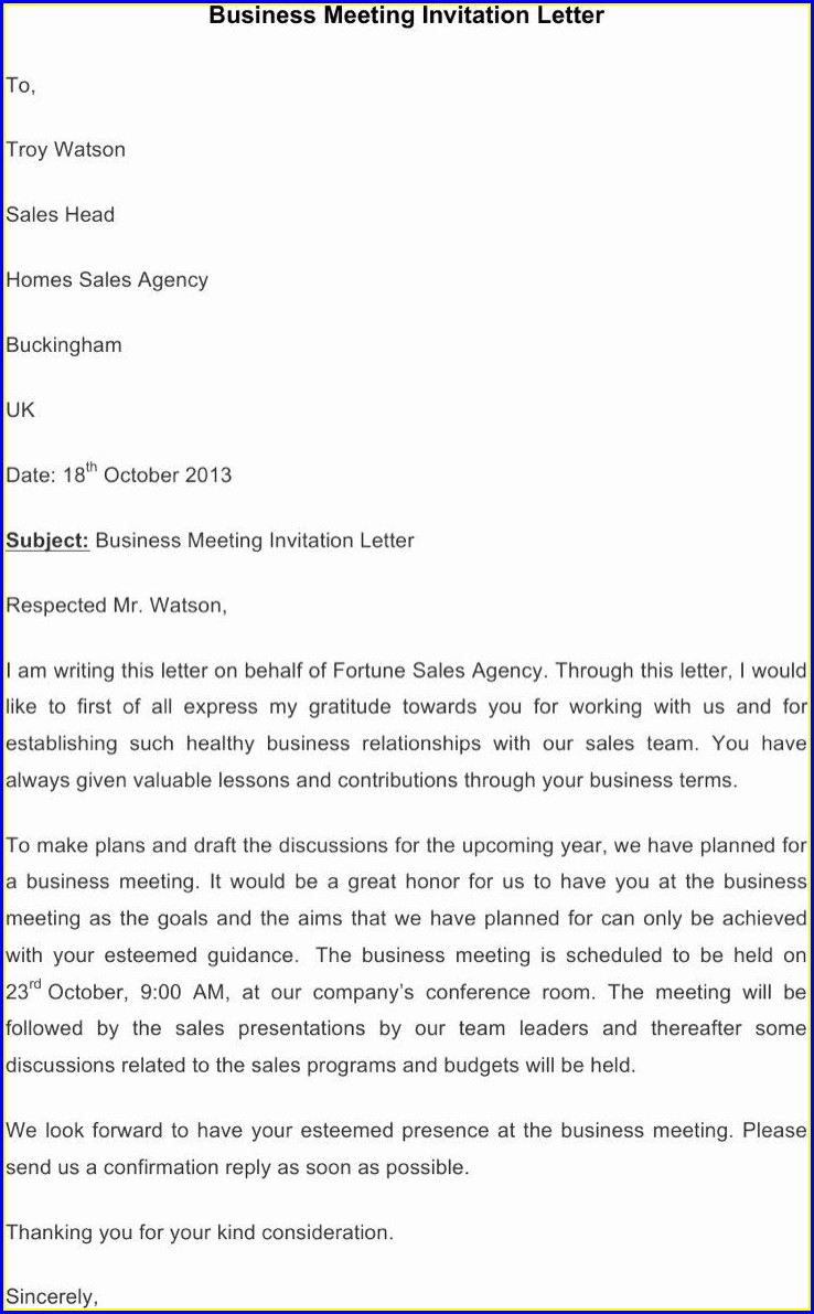 Business Meeting Invitation Templates Free