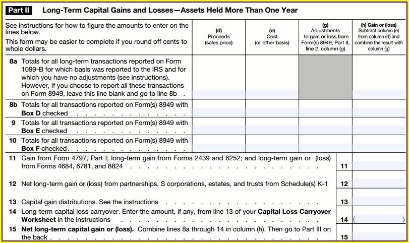Capital Gains Worksheet Example