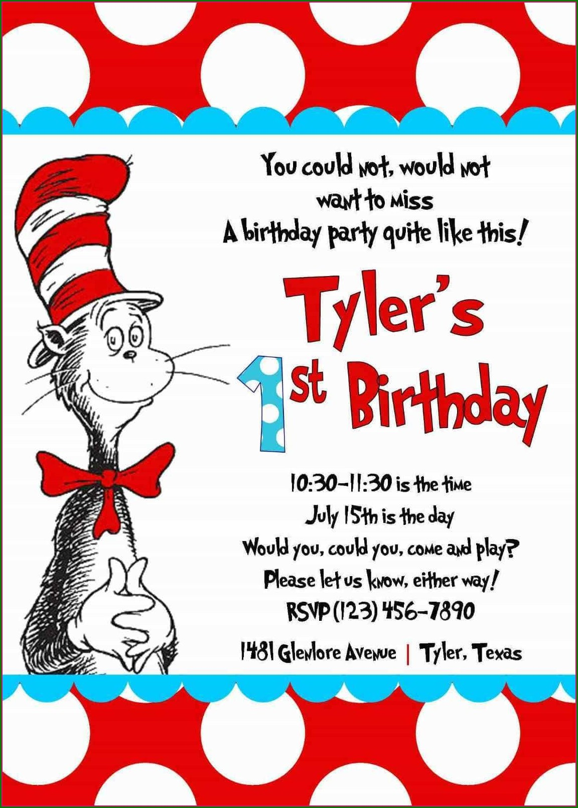 Cat And The Hat Birthday Invitations