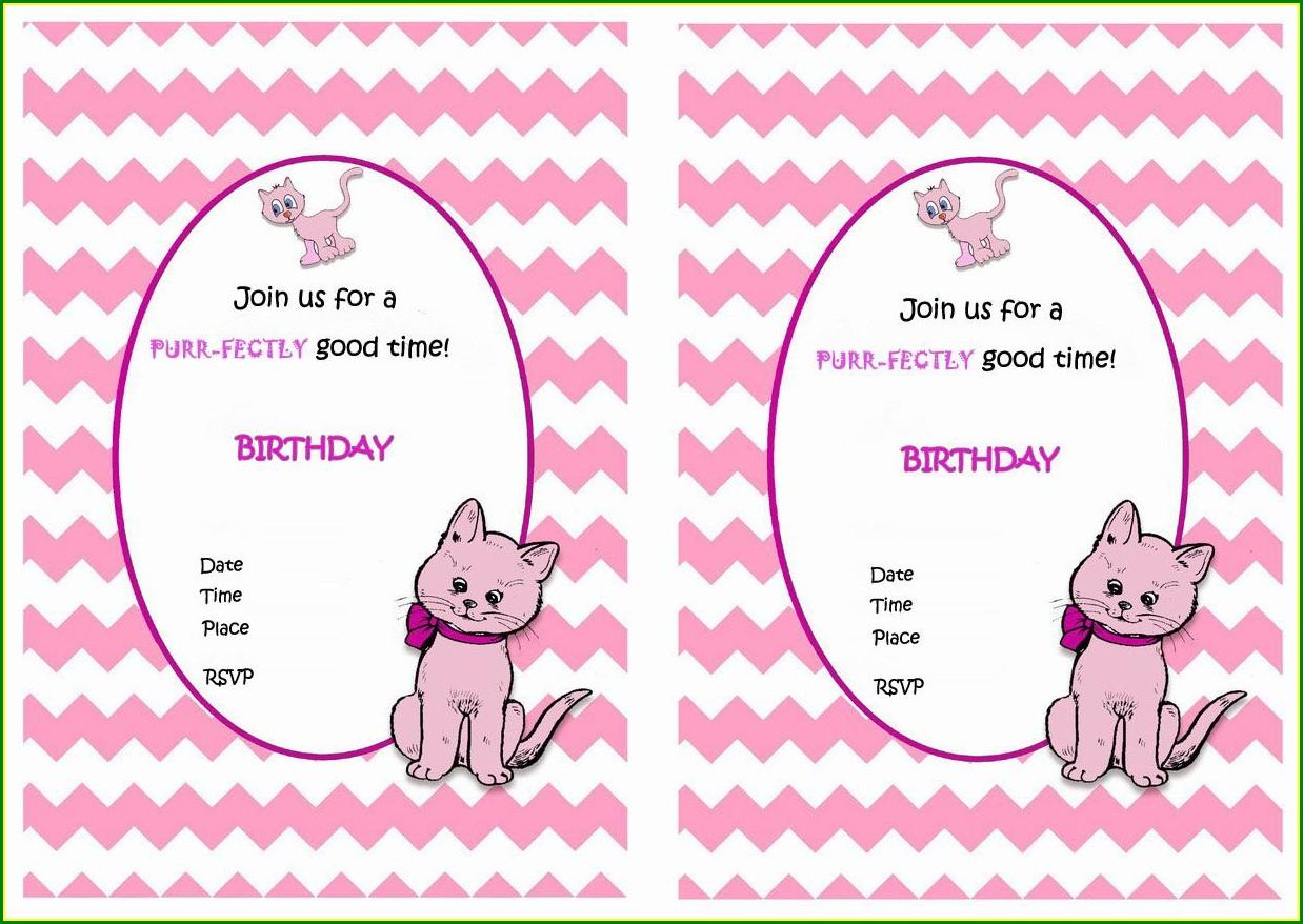 Cat Birthday Invitations Free