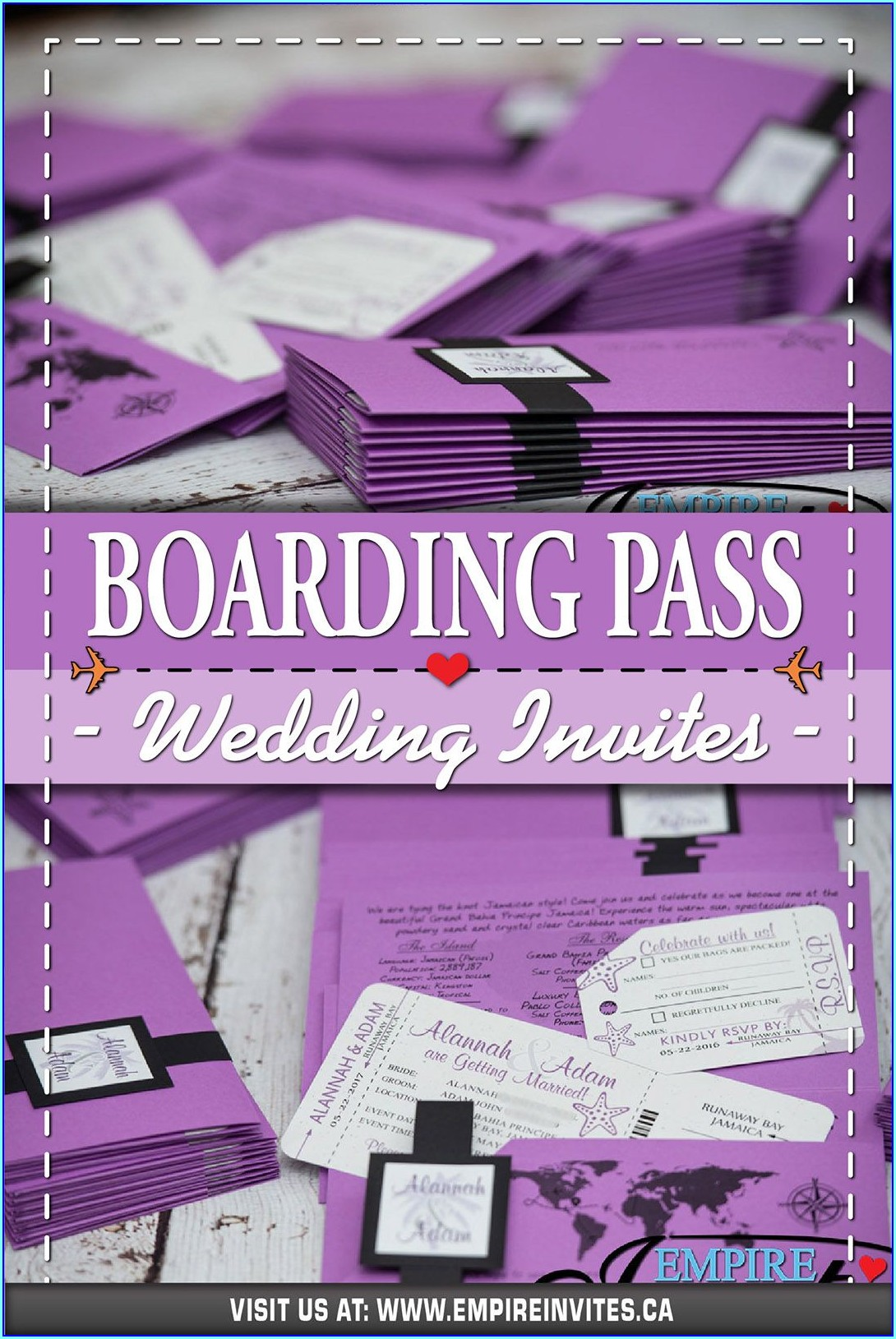 Cheap Boarding Pass Wedding Invitations