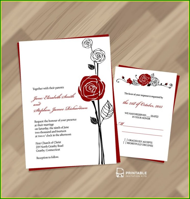 Cheap Red Rose Wedding Invitations