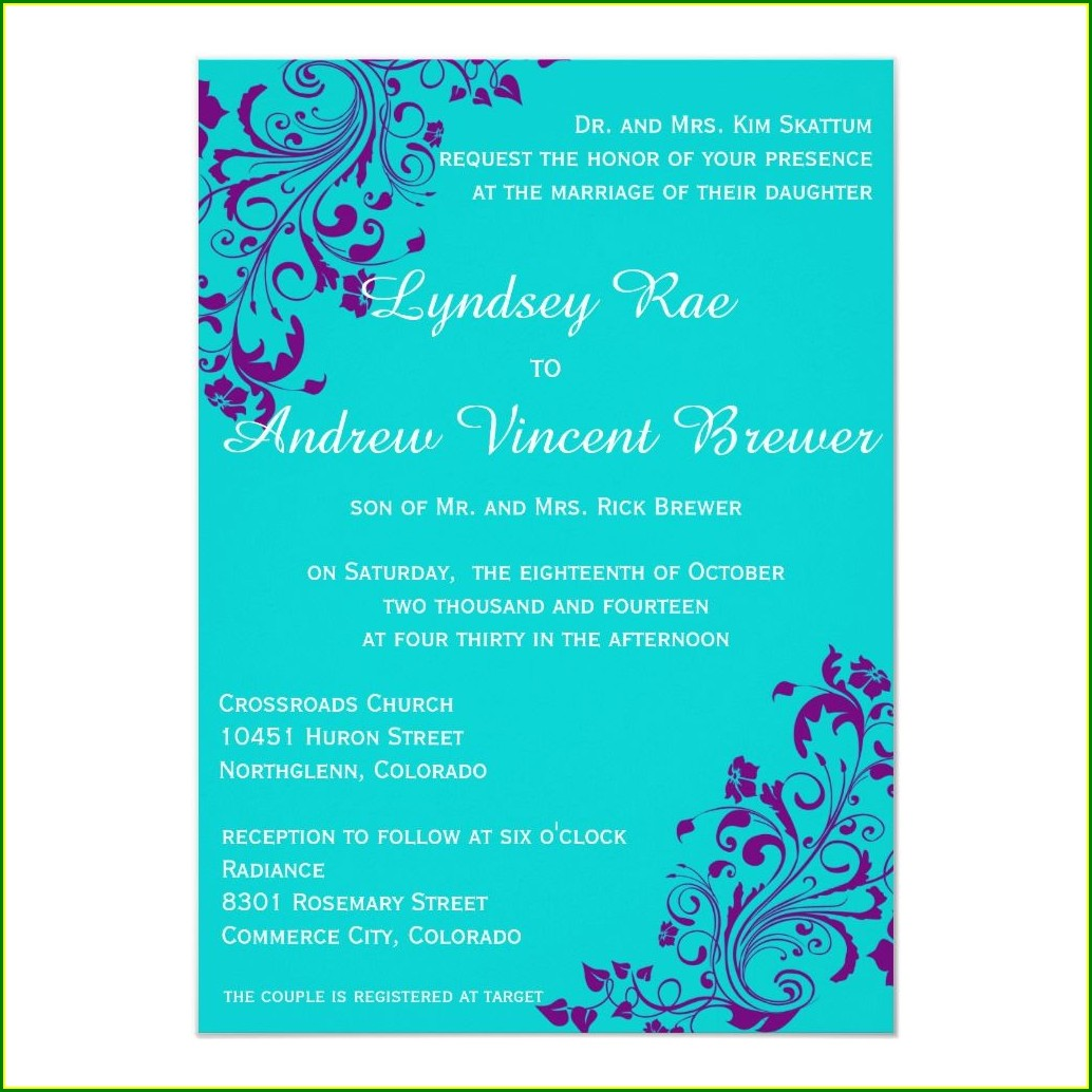 Cheap Turquoise Wedding Invitations
