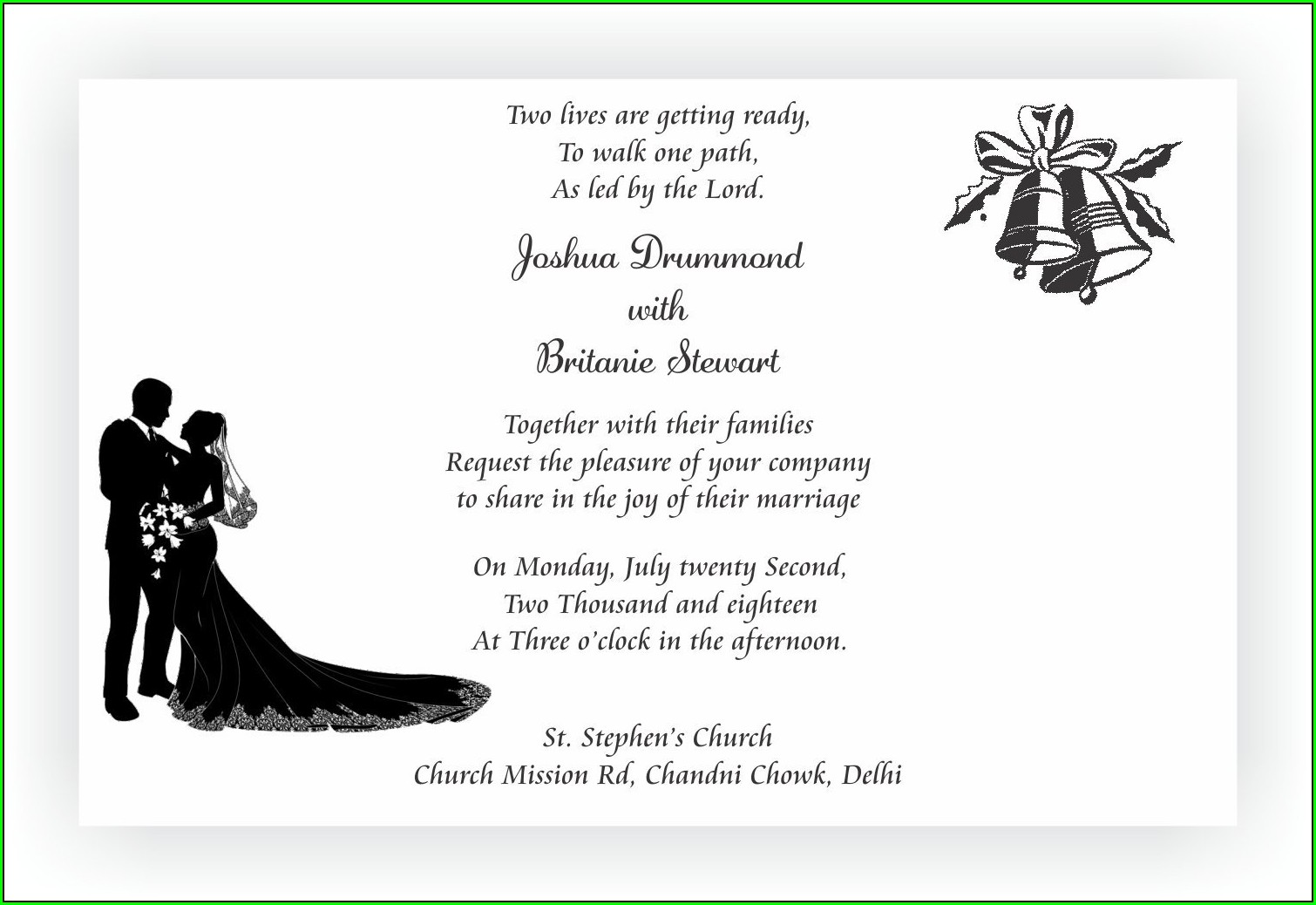 Christian Marriage Invitation Wordings In English
