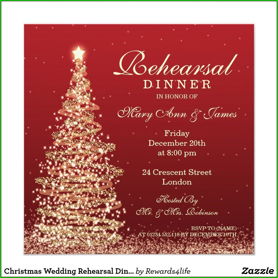 Christmas Rehearsal Dinner Invitations
