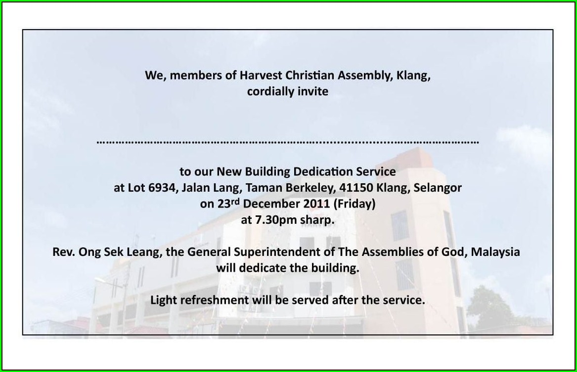 Church Dedication Invitation Wording