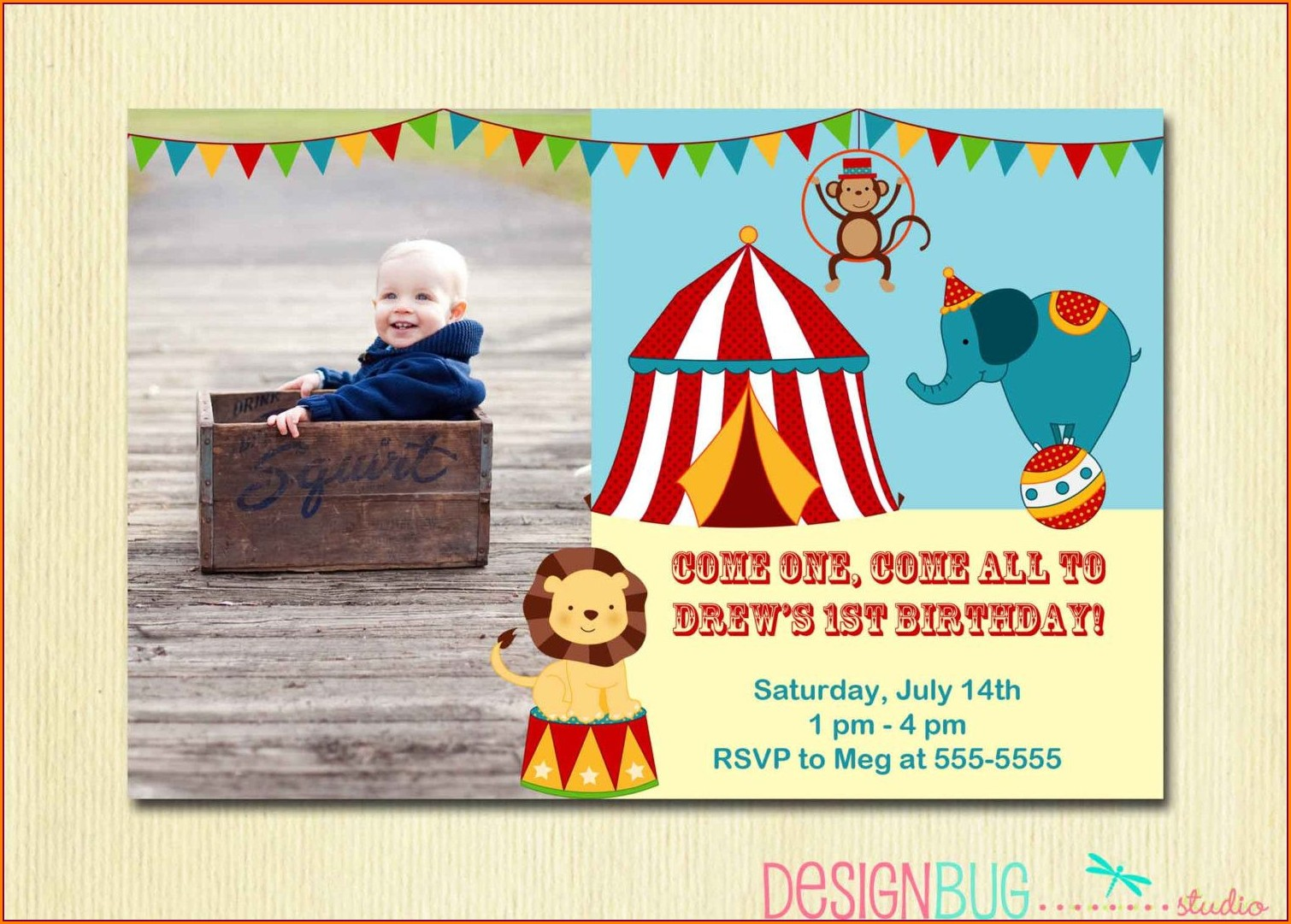 Circus First Birthday Invitations
